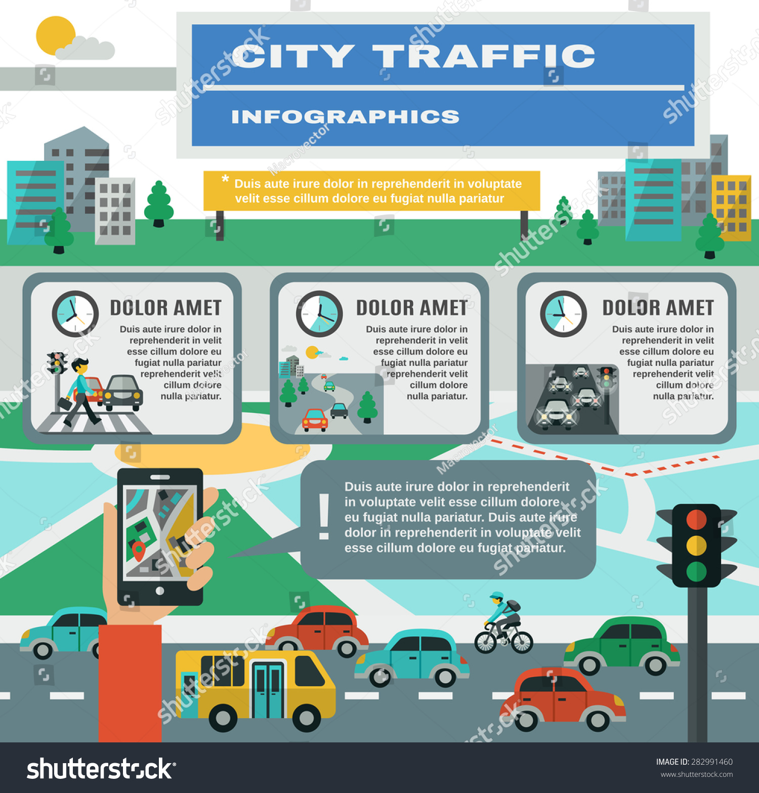 City Traffic Infographics Set Cars Gps Stock Vector Royalty Free