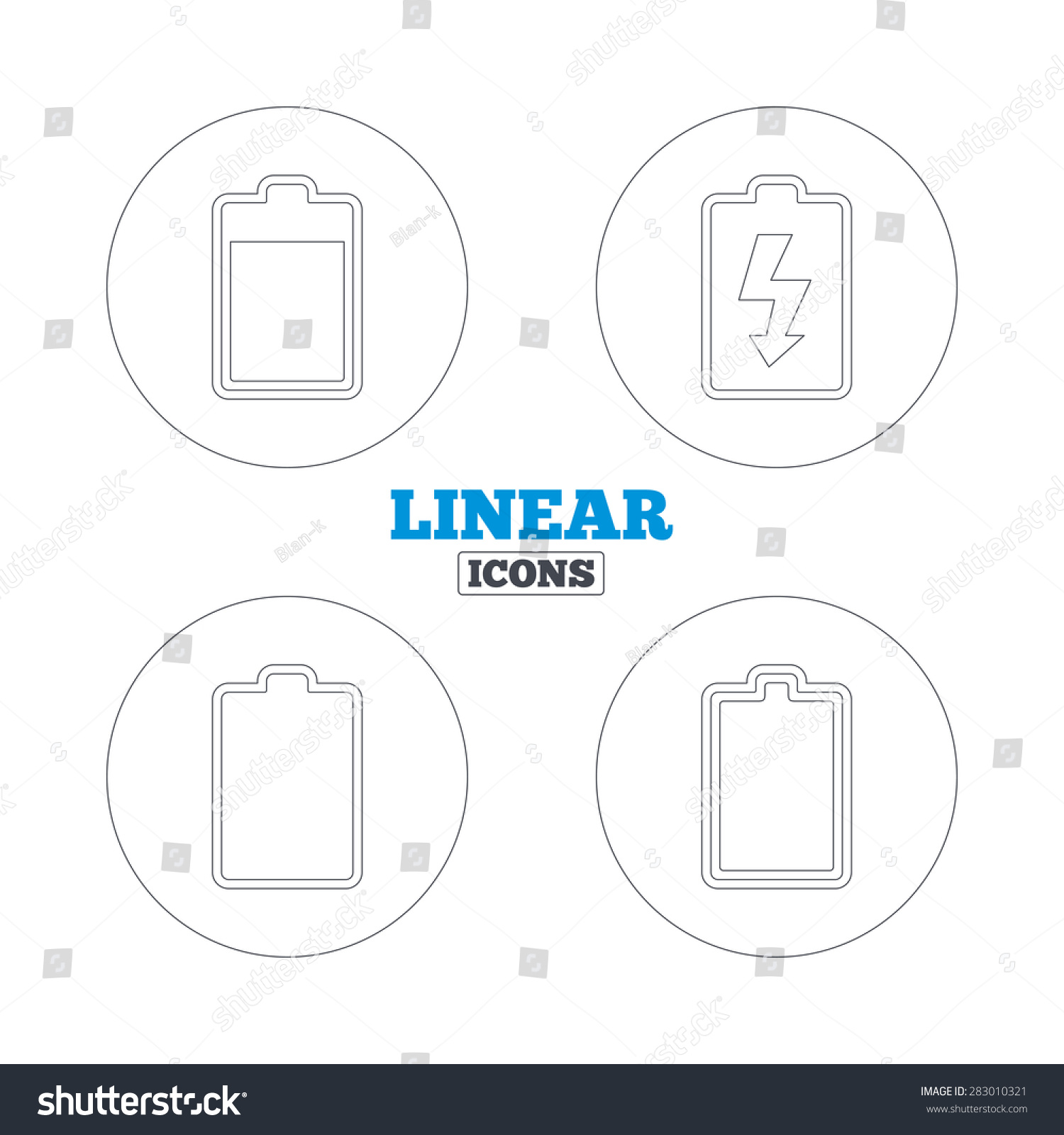Battery Charging Icons Electricity Signs Symbols Stock Vector ...