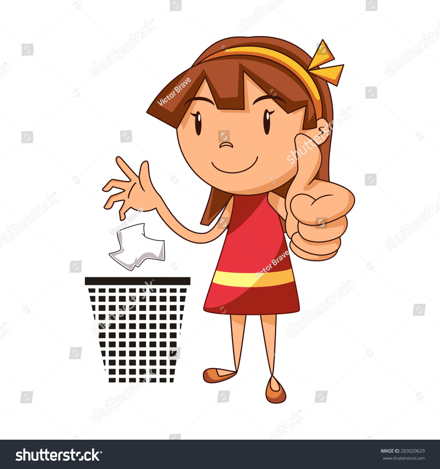 Put Trash In Its Place Girl Vector Illustration