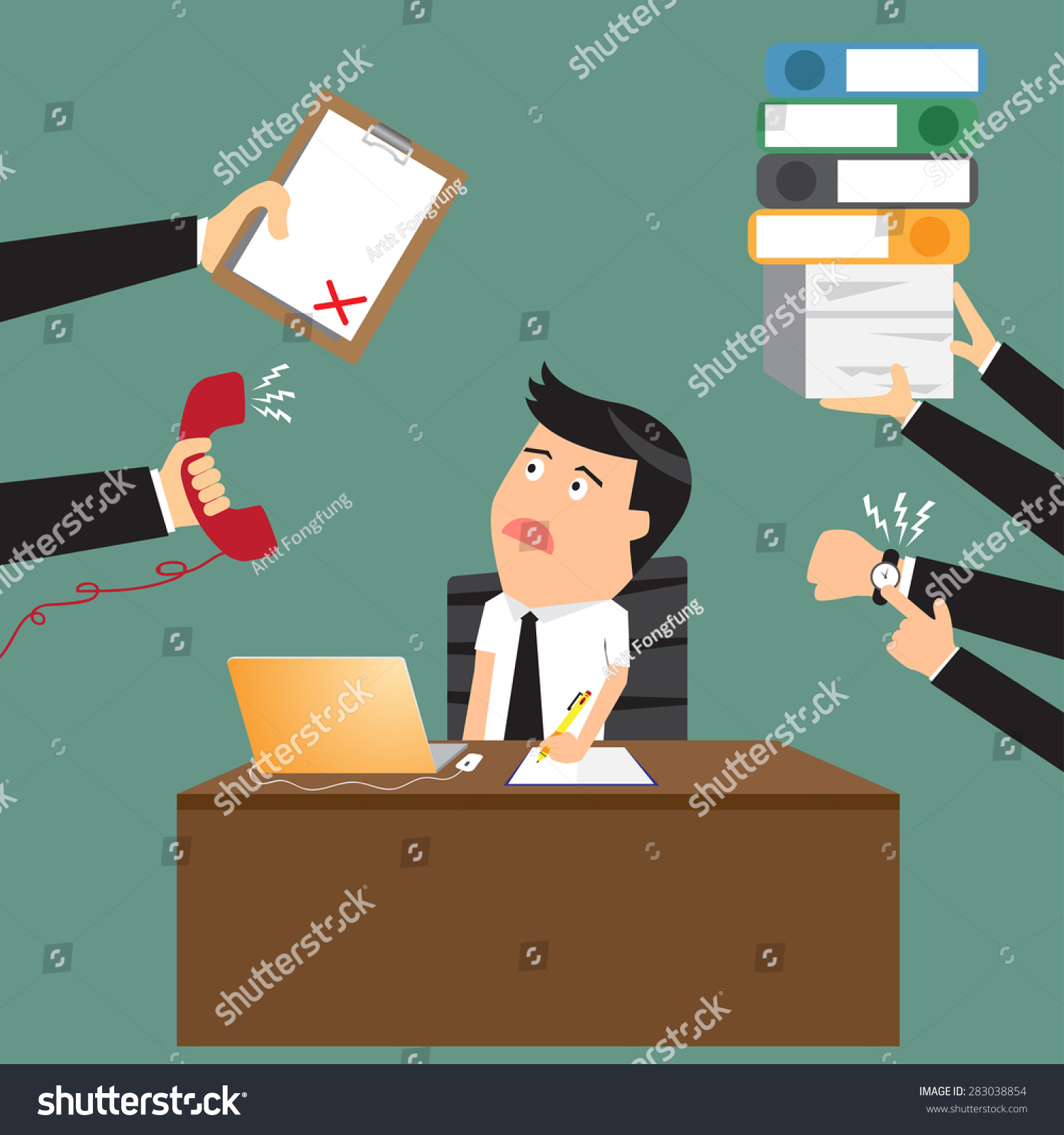 Stock Vector Worried Cartoon Businessman With Phone In Hand Has A Lot Of Work And Paperwork Suitable For Time on Flat Design Office Desk