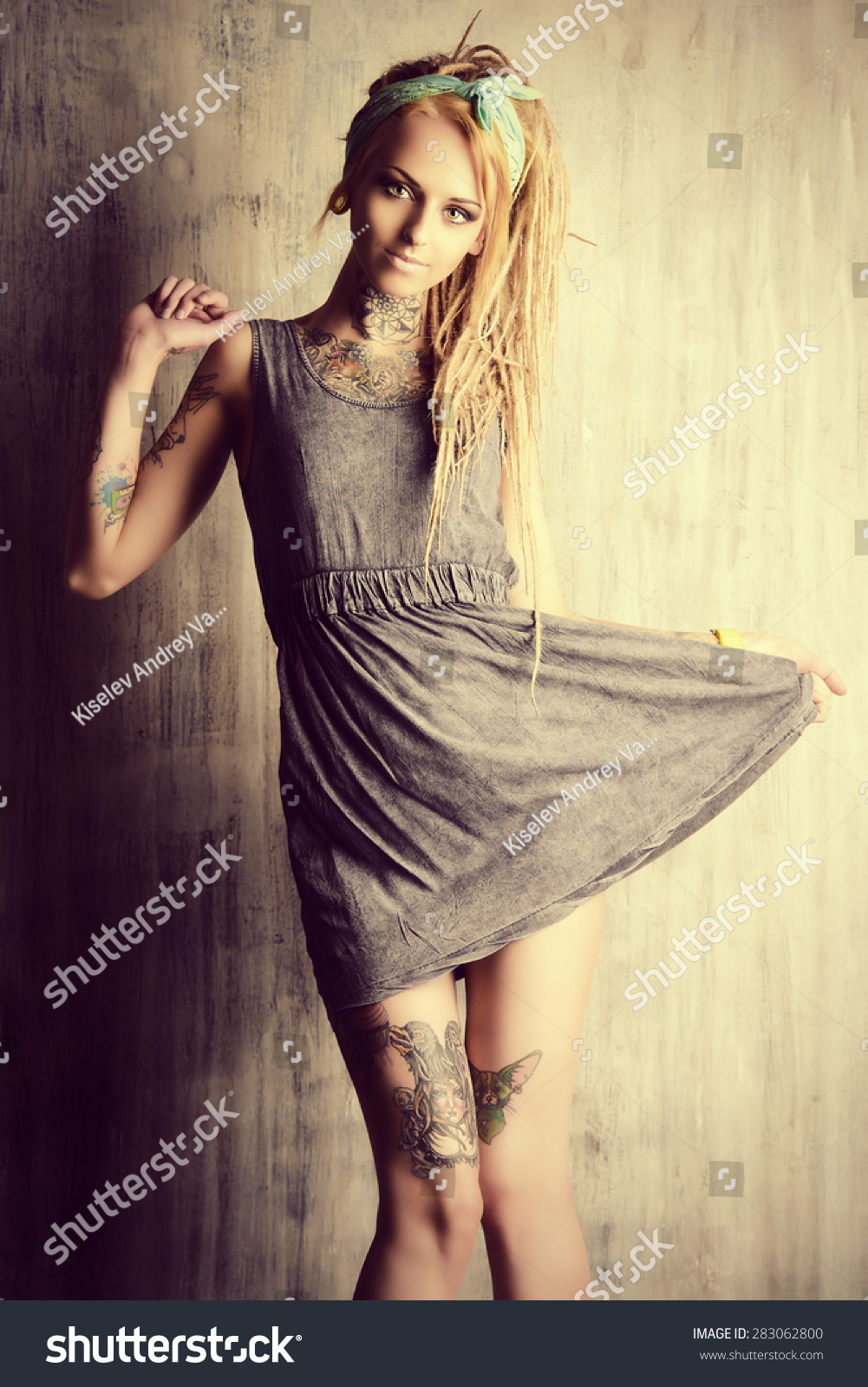 Sexual Blonde Girl Fascinating Dreadlocks Posing Stock Photo ...