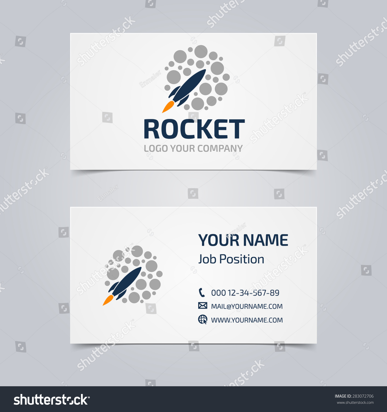Business Card Picture Rocket Template Corporate Stock Vector ...