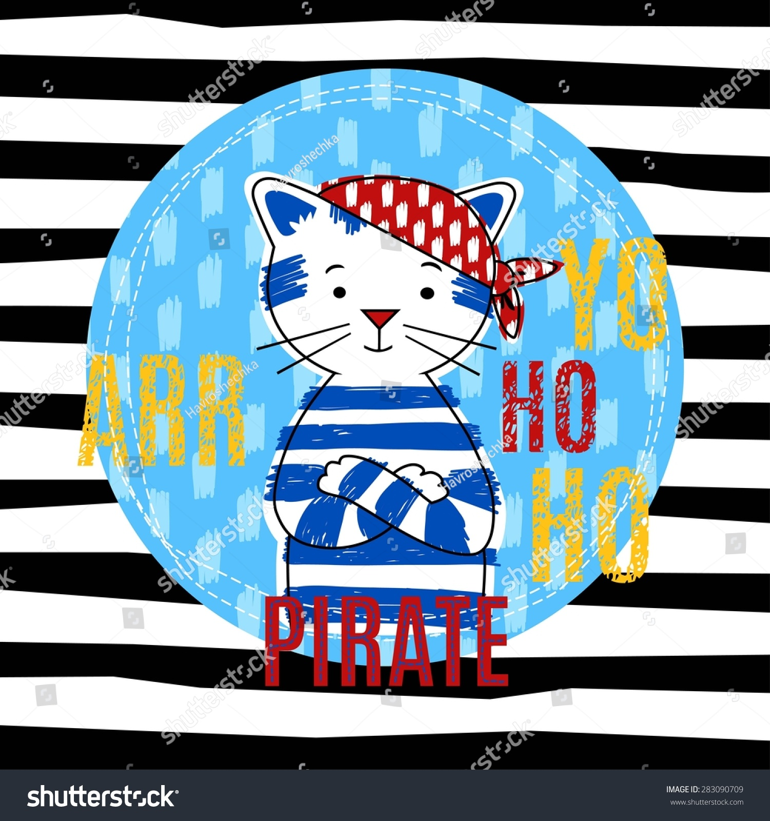 Cat pirate vector illustration T-shirt boy design
