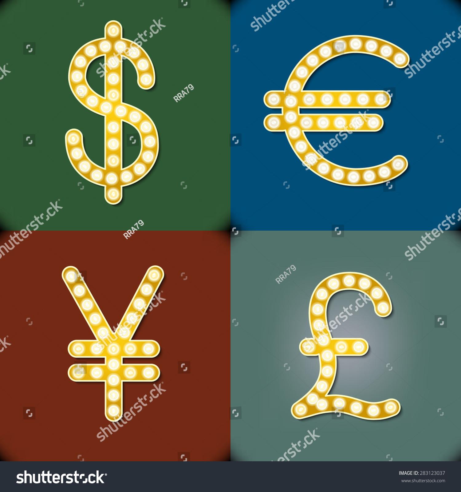 Currency signs dollar euro pound yen stock vector 283123037 the currency signs of dollar euro pound and yen buycottarizona Choice Image