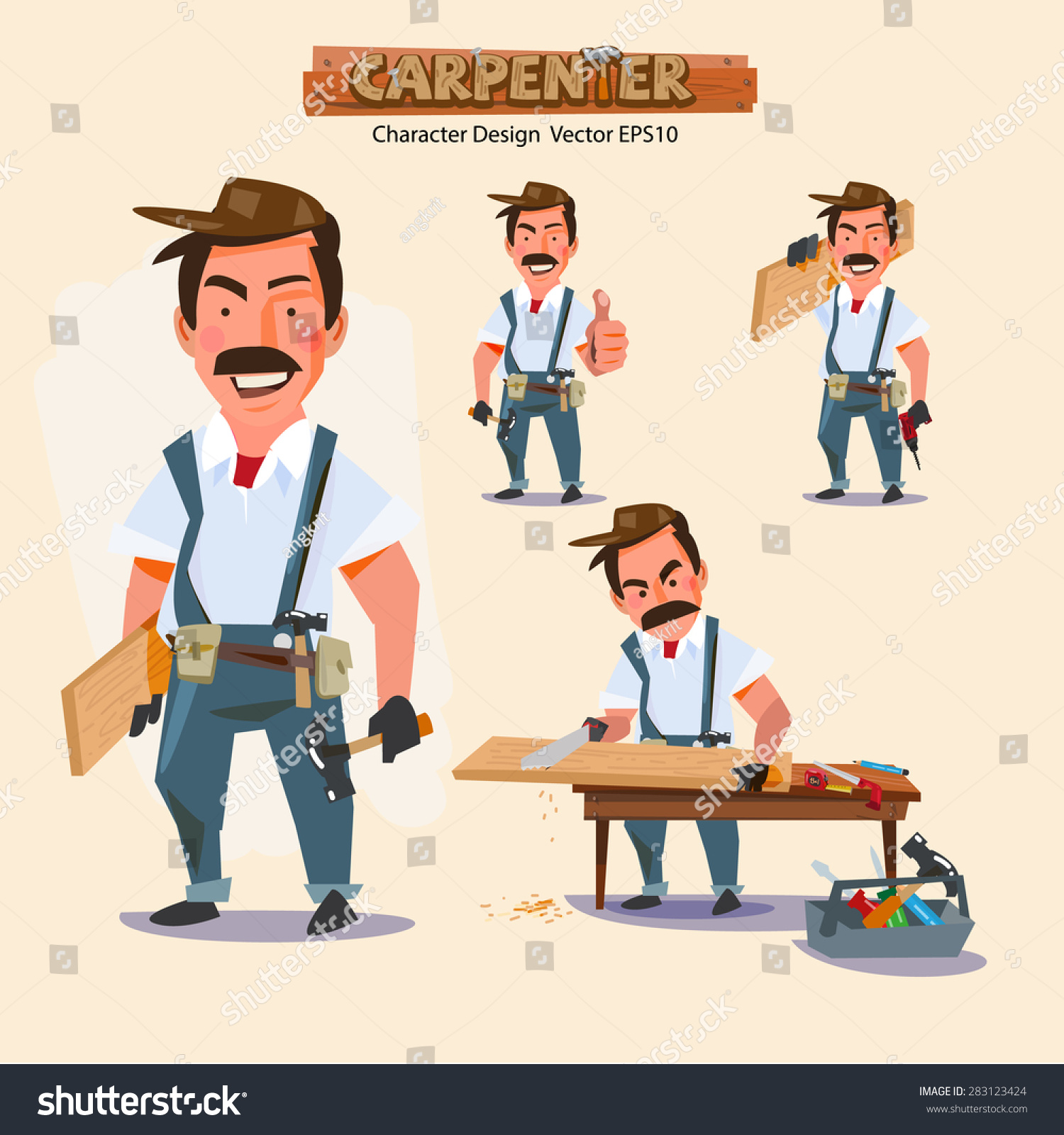 Character Design Careers : Professional carpenter in various action with typographic