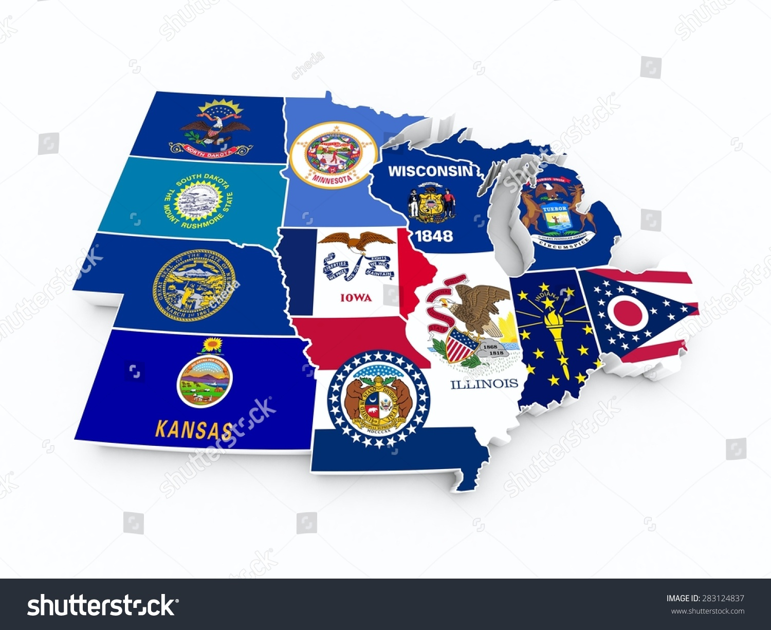 Map Usa Midwest Region New Stock Illustration Shutterstock - Midwest usa map