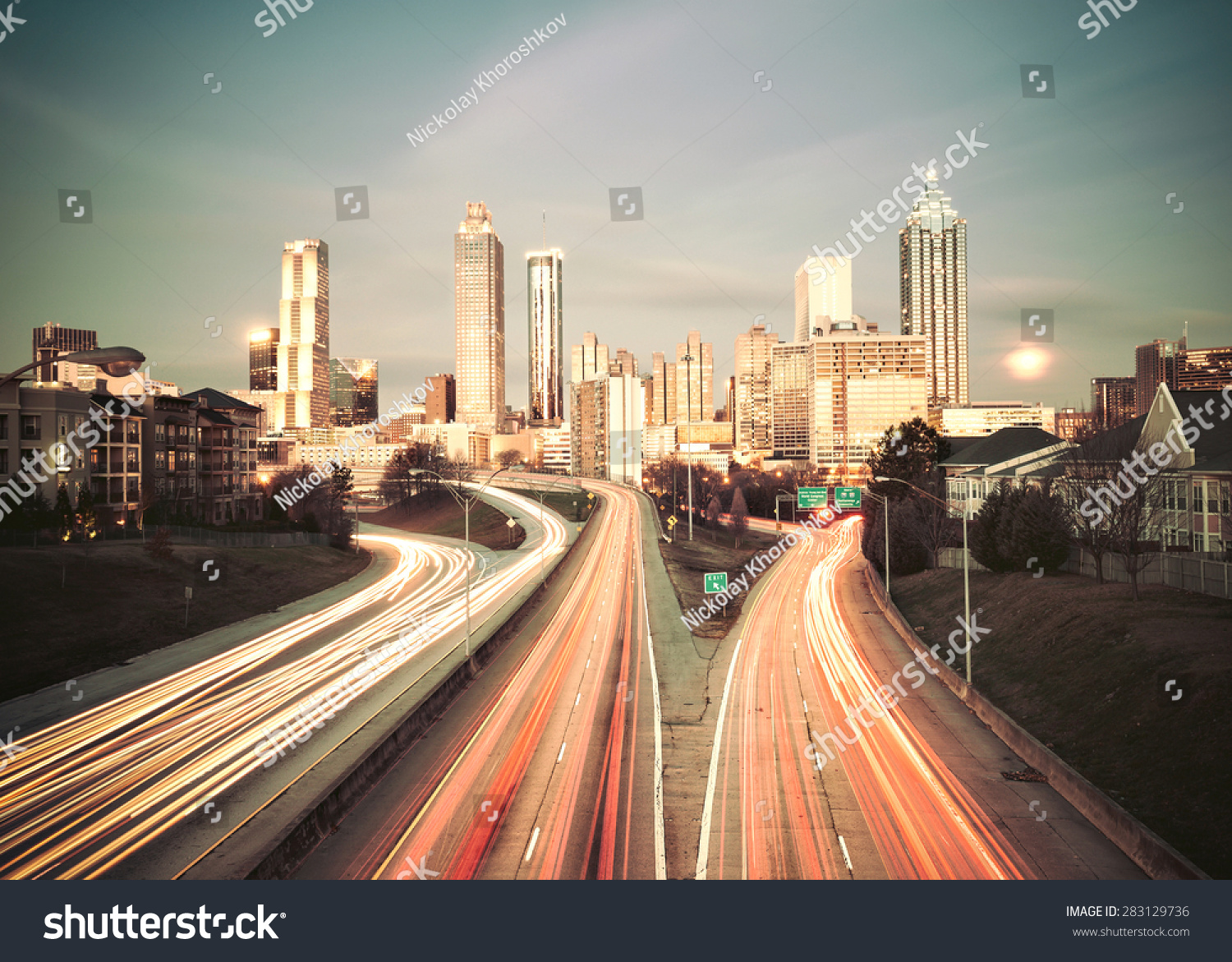 Vintage style image of Atlanta skyline Georgia USA