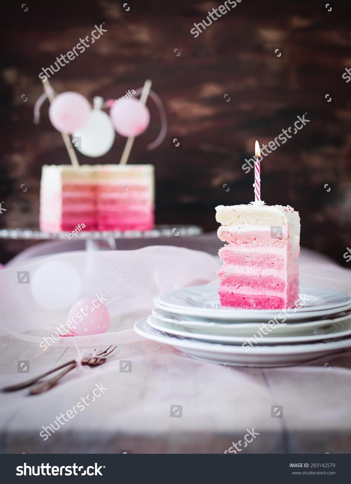 Pink White Piece Birthday Cake Burning Stock Photo Edit Now