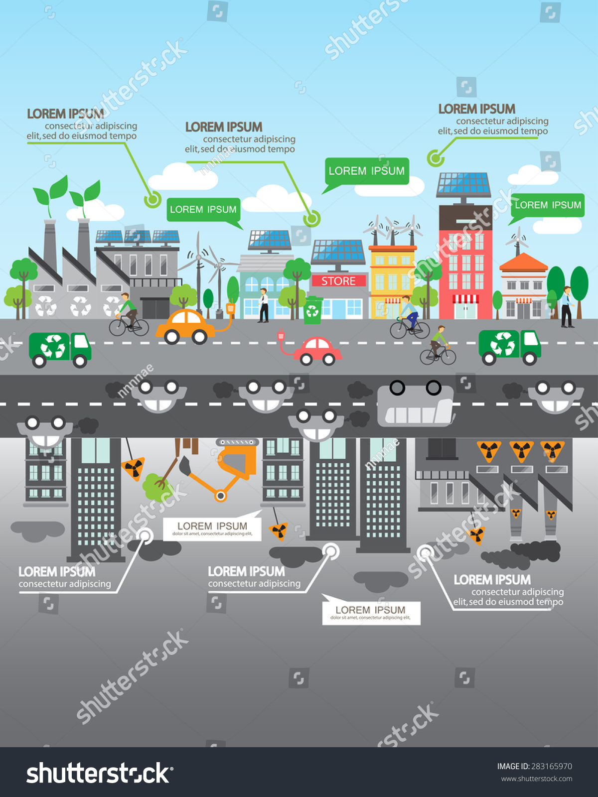 Environment ecology infographic elements Environmental risks and pollution ecosystem Can be used for background layout banner diagram web design brochure template Vector illustration