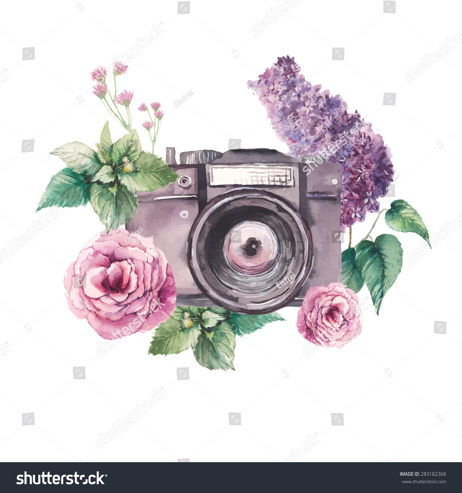 Label Hand Drawn Photo Camera Surrounded By Various Flowers Roses