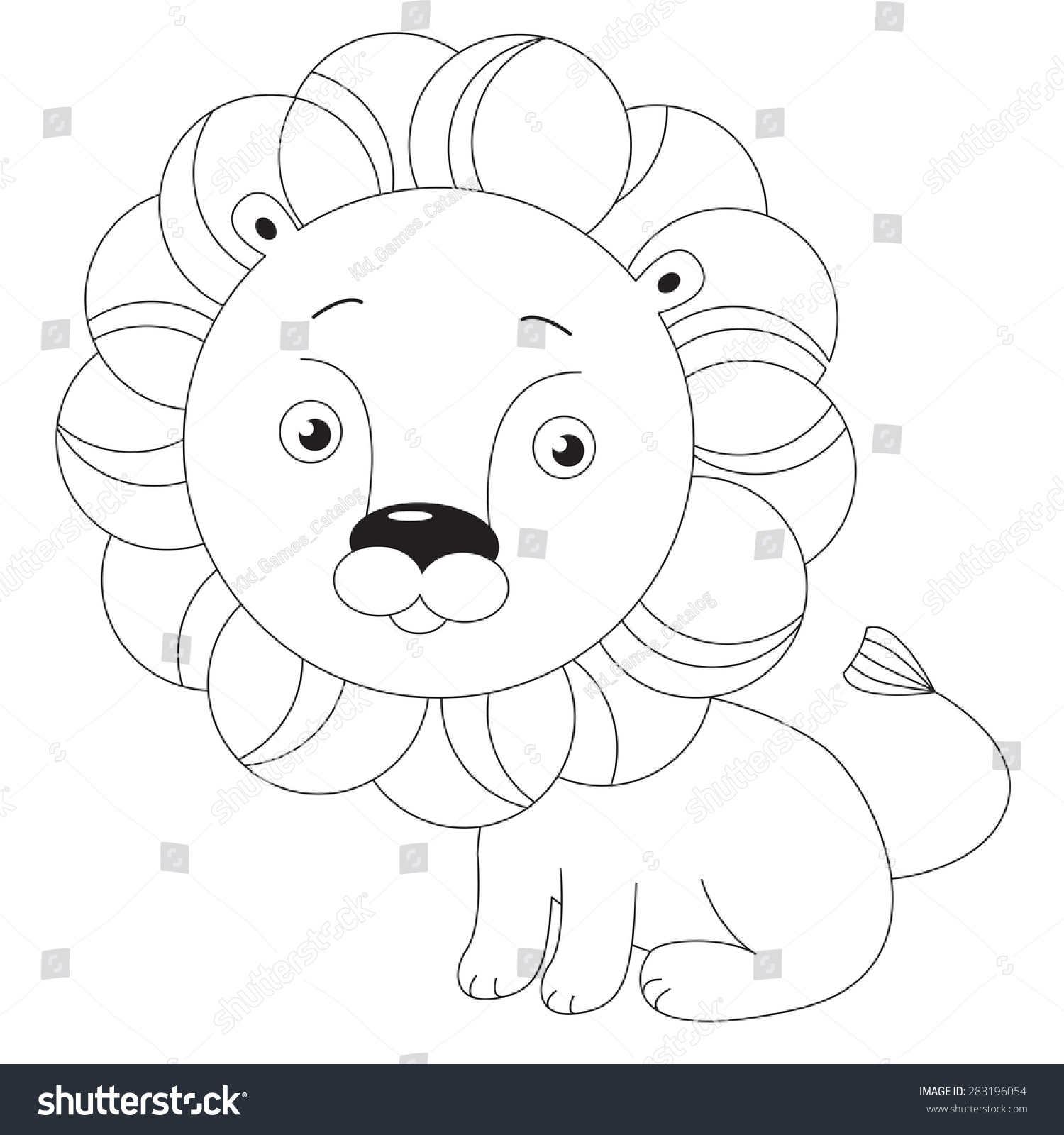 toy lion page be colored kid stock vector 283196054 shutterstock
