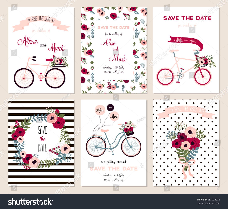 Collection 6 Cute Card Templates Wedding Stock Vector