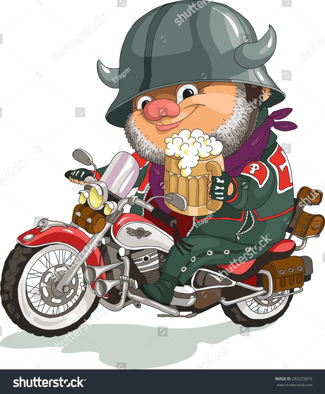 funny cartoon vector illustration cool biker stock vector