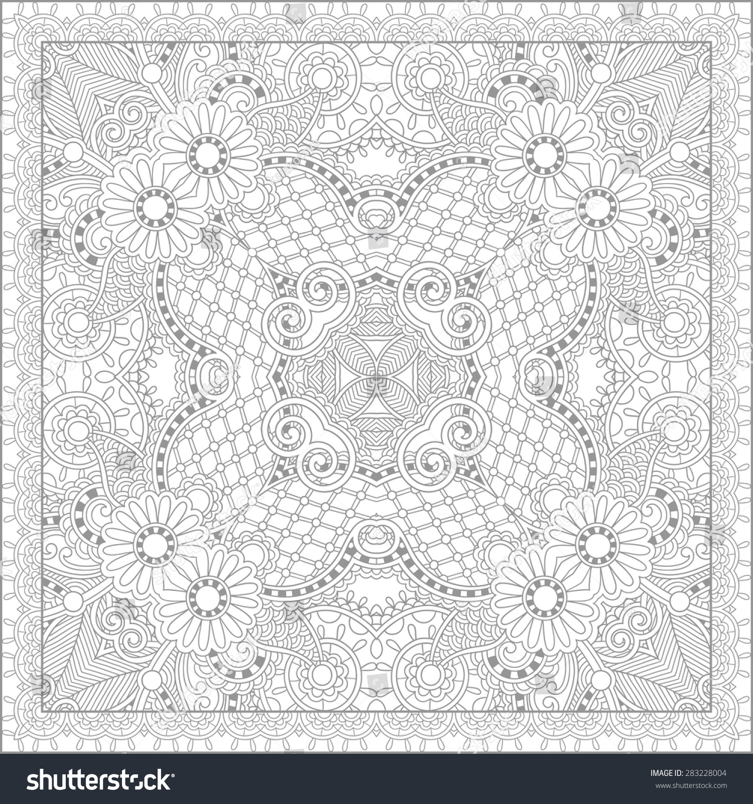 Unique Coloring Book Square Page Adults Stock Vector 283228004