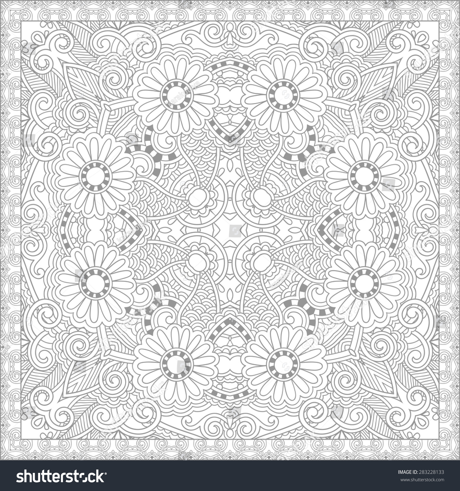 Unique Coloring Book Square Page Adults Stock Vector 283228133