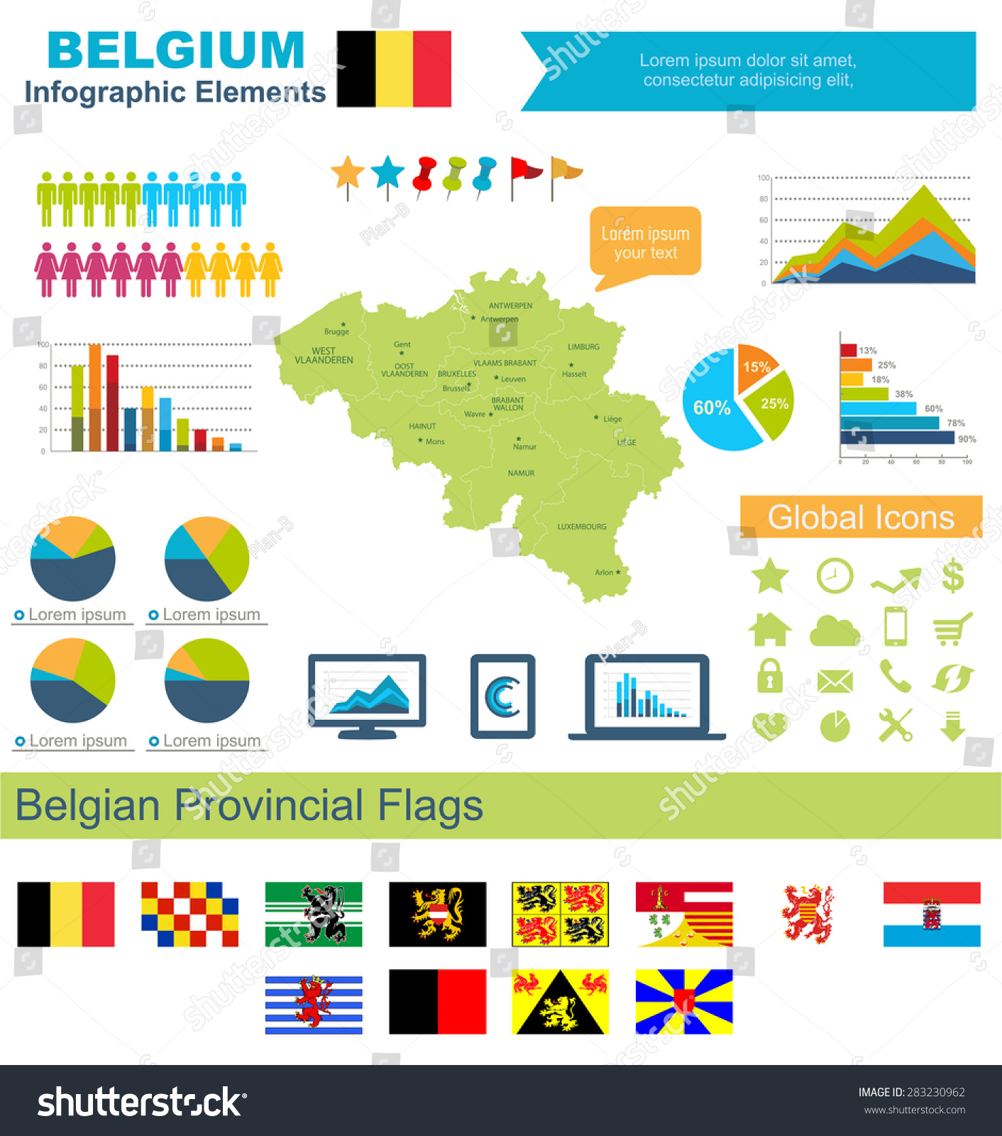 Belgium Infographic Elements Include High Detailed Map Stock ...