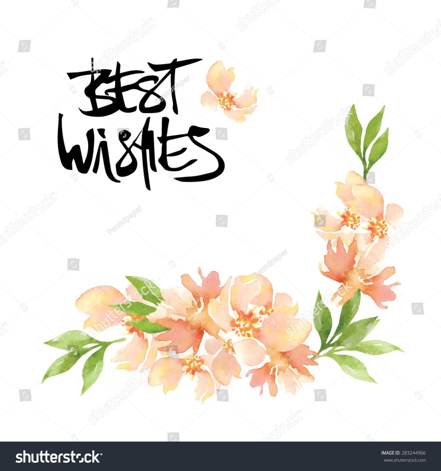 Calligraphy flower card stock vector shutterstock