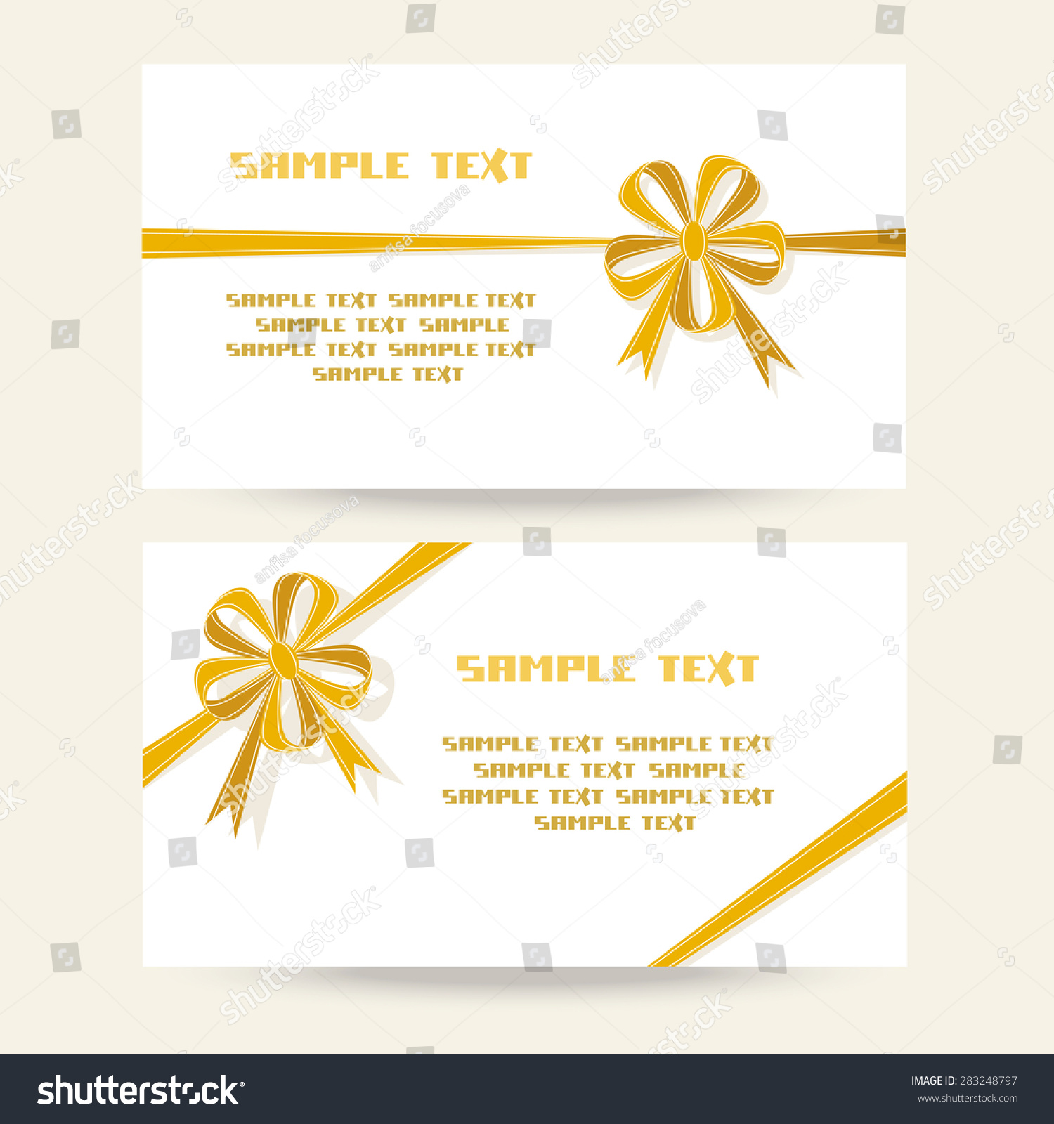 Set Of Gift Banner With Flower Gold Bow Template For Greeting Invitation Discount