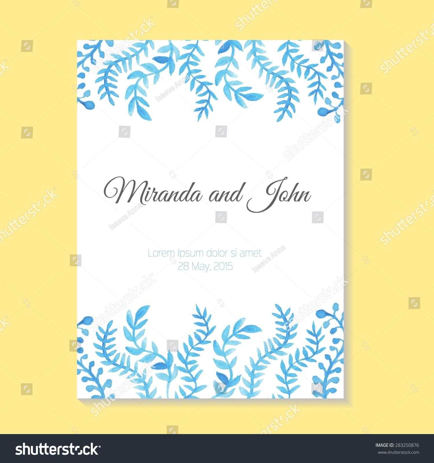 Beautiful Watercolor Card Template Wedding Invitation Stock Vector