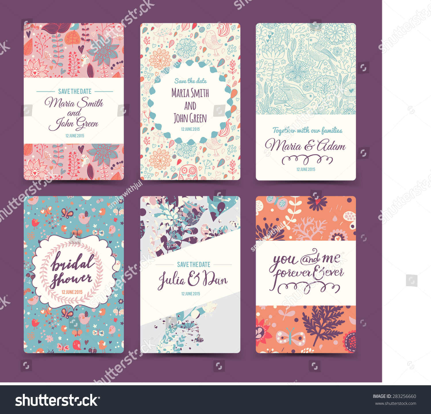 Lovely wedding romantic collection with 6 awesome cards made of hearts flowers wreaths laurel butterflies and birds Graphic set in retro style Sweet save the date invitation cards in vector