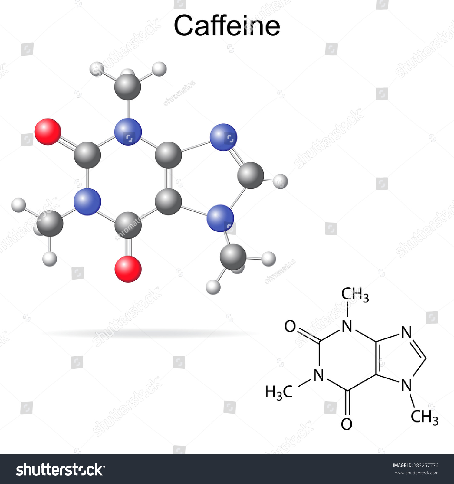 Structural model chemical formula caffeine molecule stock vector structural model chemical formula of caffeine molecule 2d and 3d isolated vector eps pooptronica