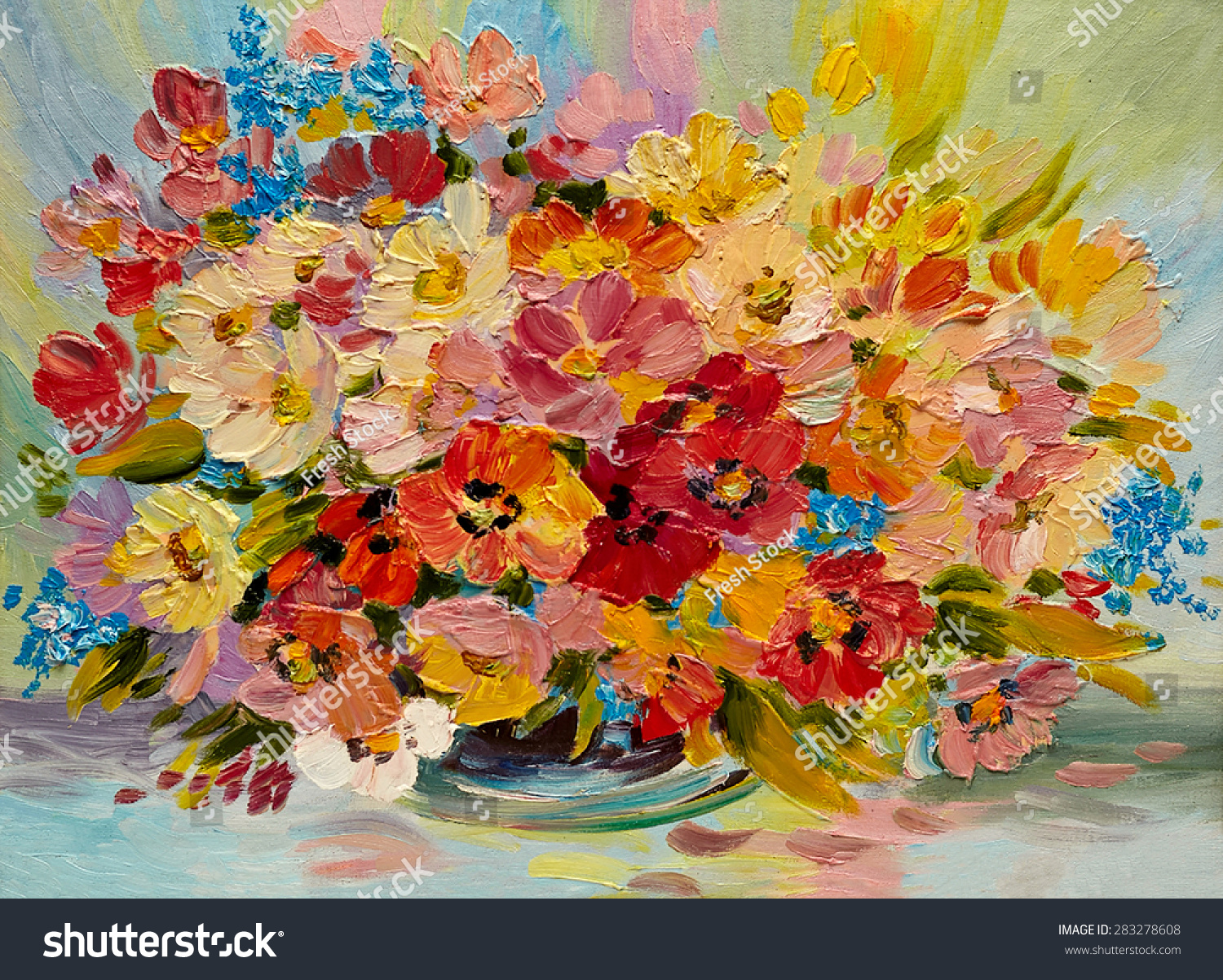 Oil Painting Colorful Bouquet Summer Flowers Stock Illustration ...
