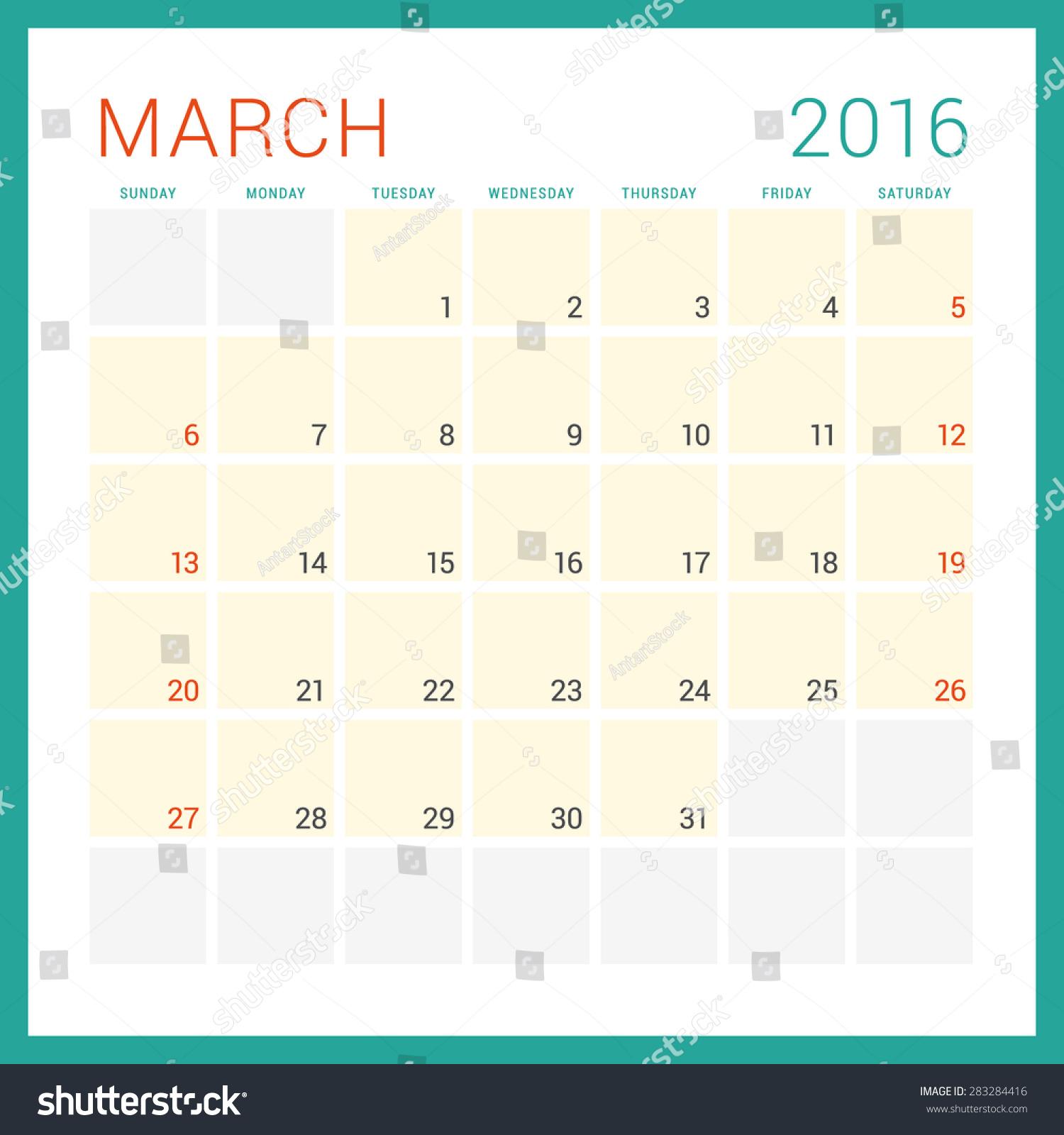Calendar Typography Vector : Calendar vector flat design template stock