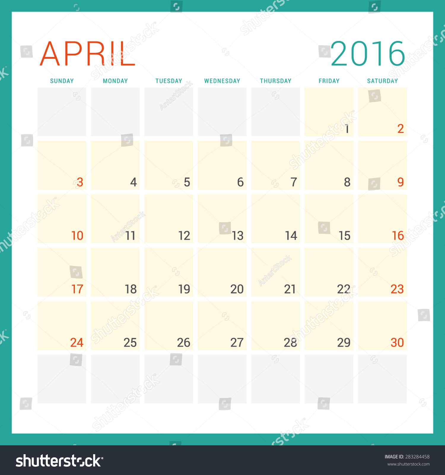 Calendar April Vector : Calendar vector flat design template april week