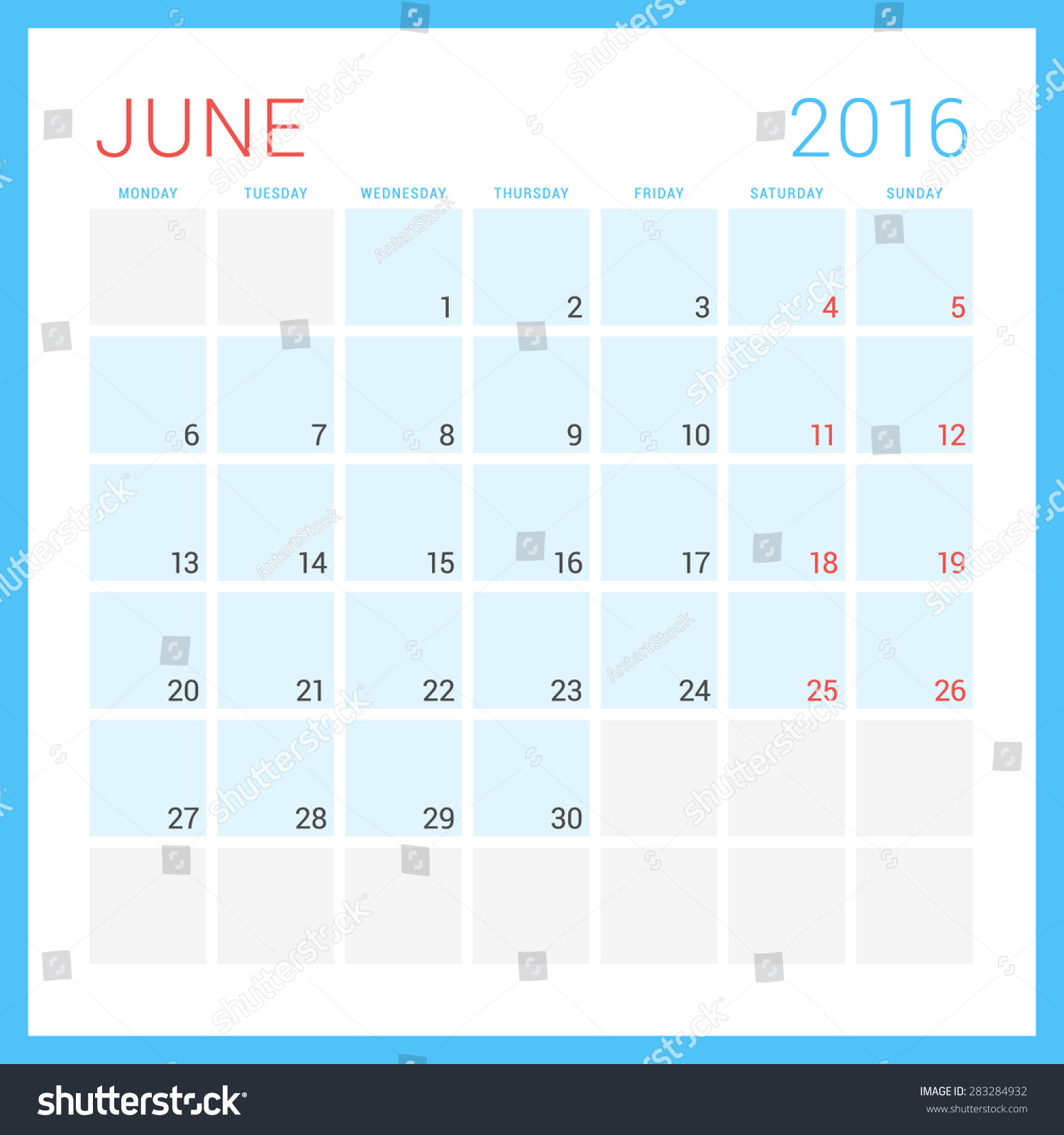 June Calendar Vector : Calendar vector flat design template stock