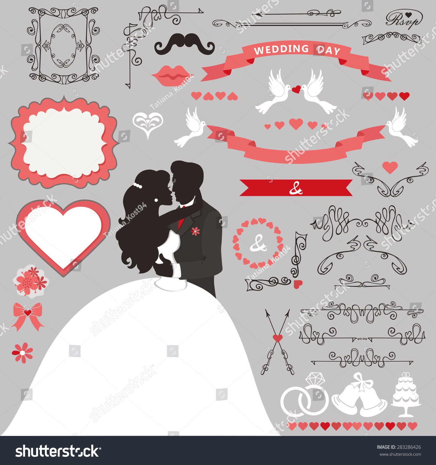 Wedding Invitation Card Decor Set Cartoon Kissing Stock Vector (2018 ...