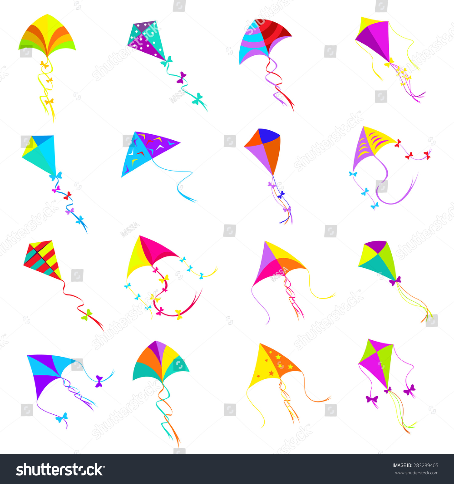 Colorful kite icons set design object stock vector 283289405 toy design object group for activity game fly freedom biocorpaavc
