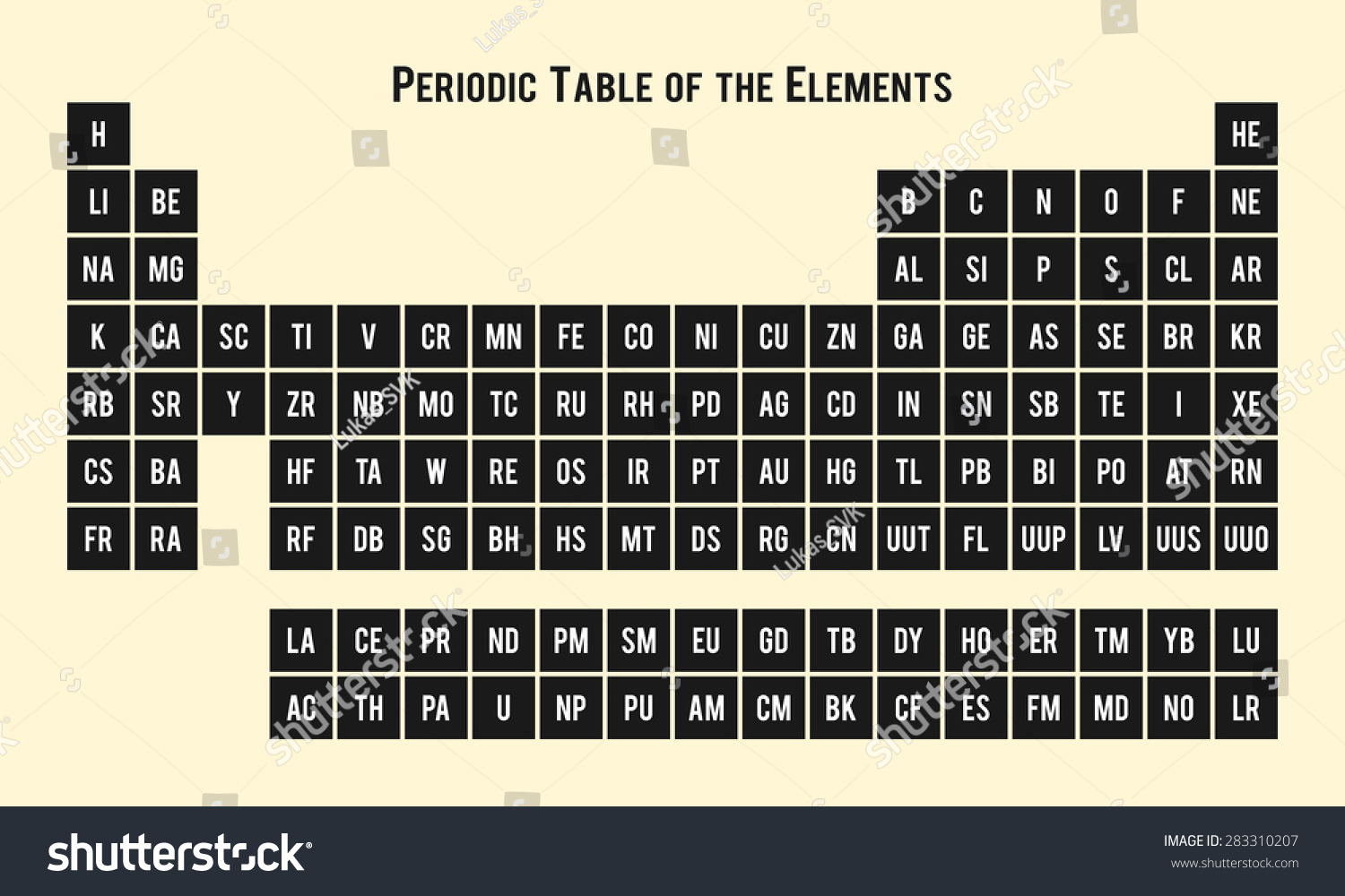 Periodic table elements chemical symbols stock vector 283310207 periodic table of the elements chemical symbols buycottarizona