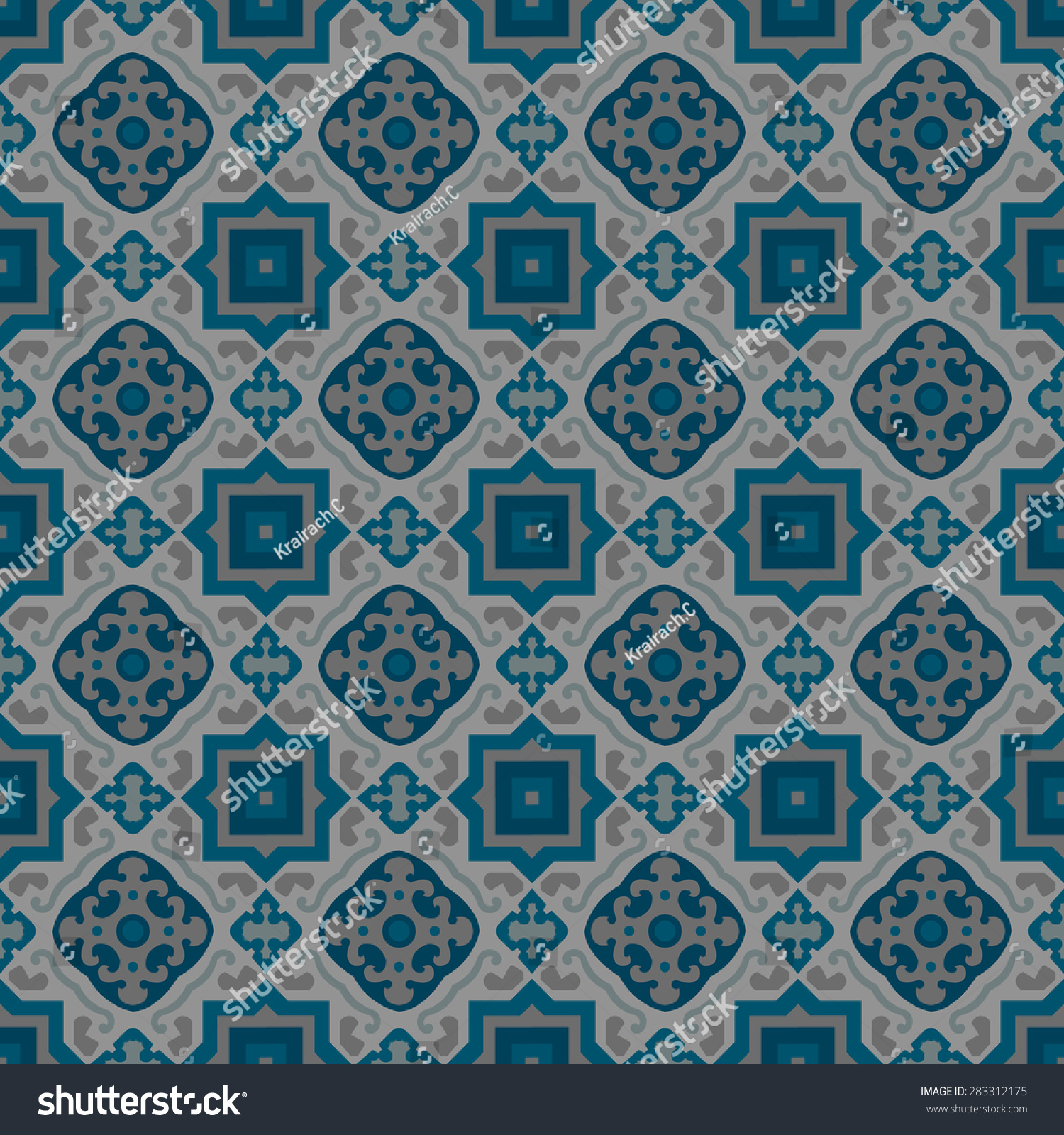Vintage Seamless Pattern Portuguese Floor Tile Stock Vector ...