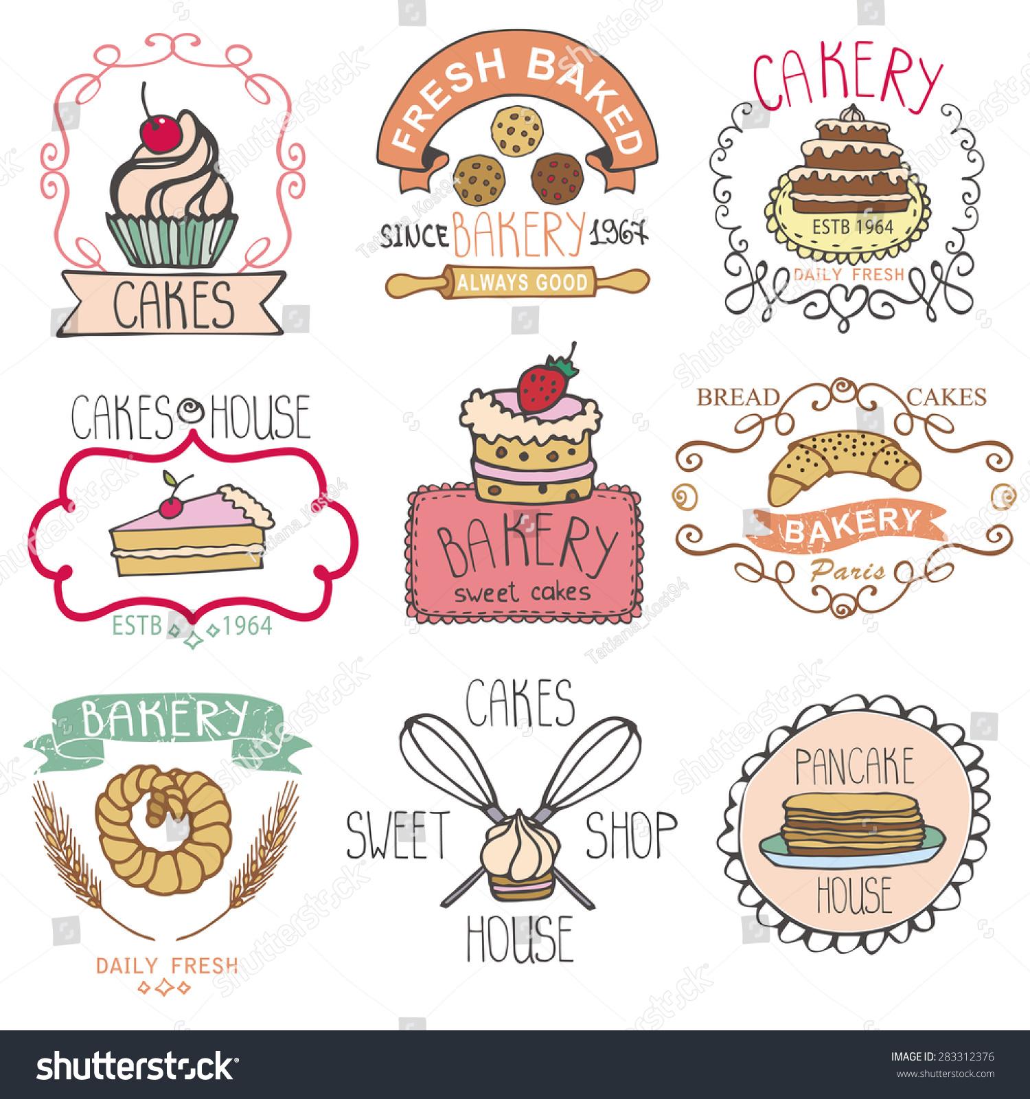 Vector Bakery Badgeslabelslogosvintage Retro Hand Sketched ...