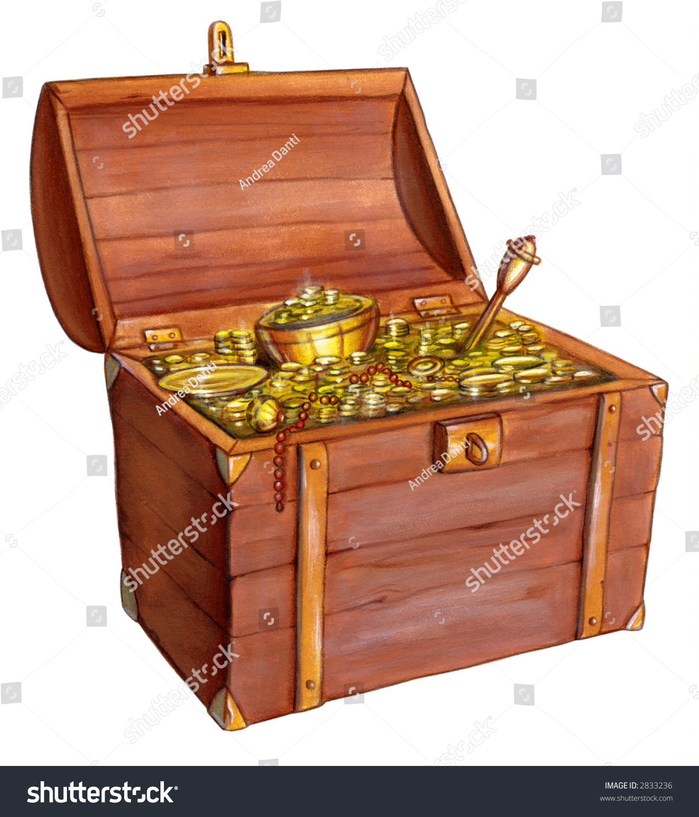 wooden treasure chest hand painted