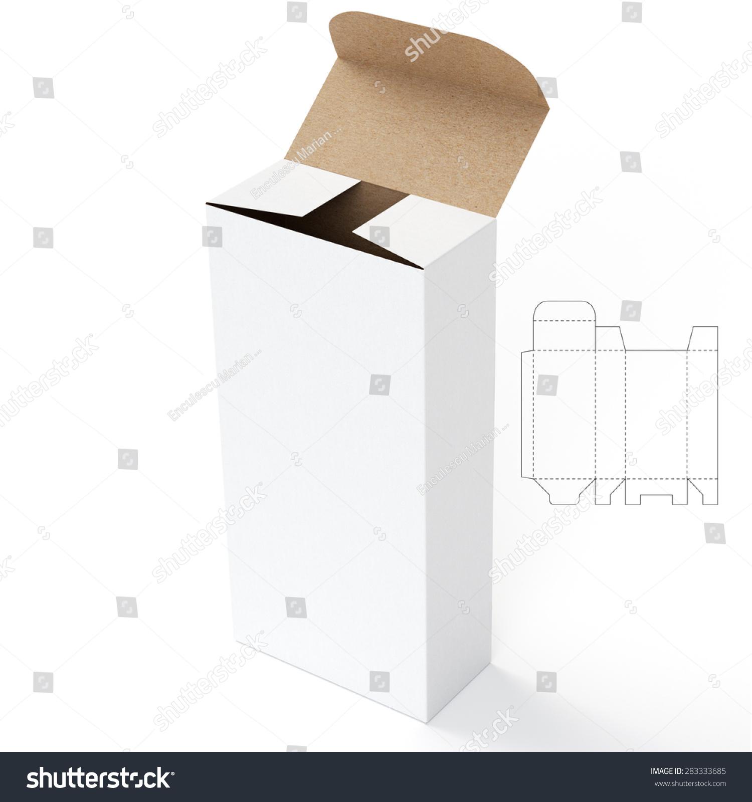 Open Tube Box Die Cut Template Stock Illustration 283333685