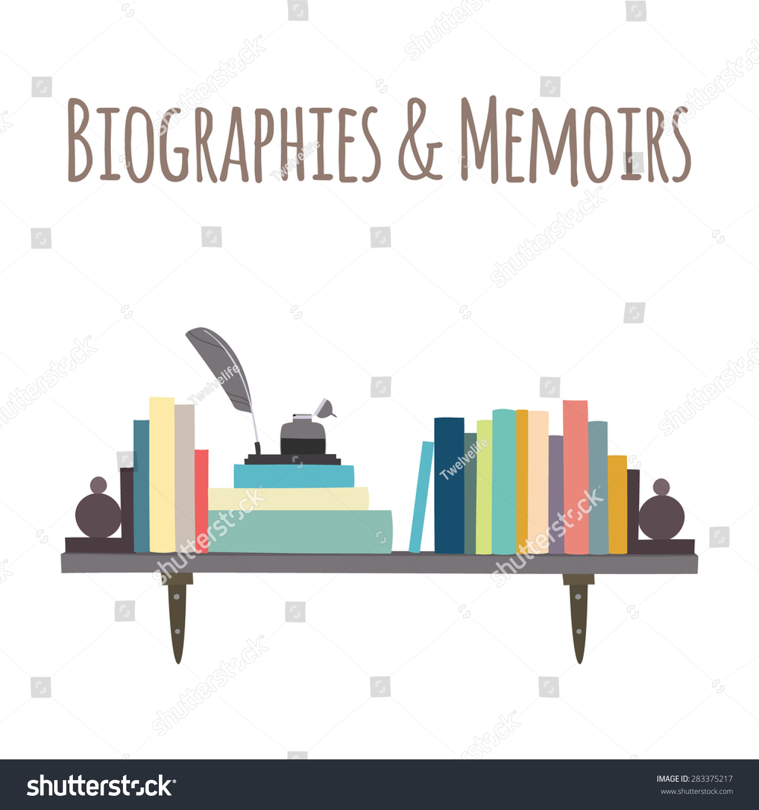 """Category for a bookstore or library. Bookshelves """"Biographies & Memoirs""""."""