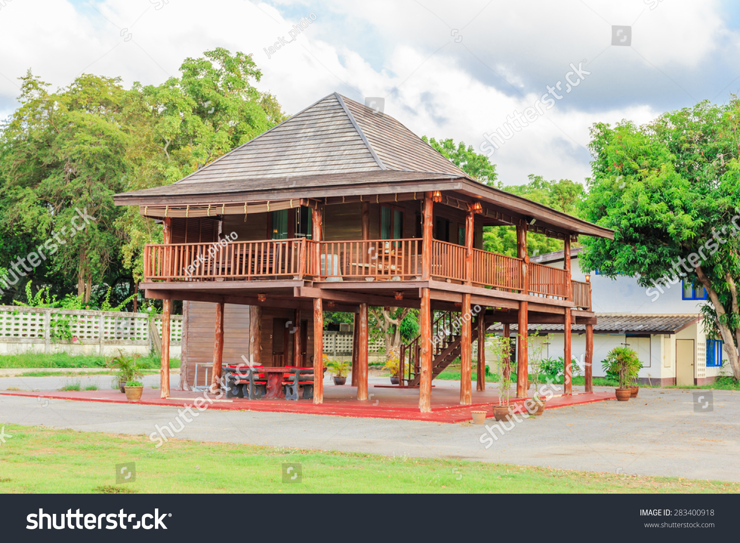 Teak wood house in thai style nature backgrond stock photo 283400918 shutterstock - Wooden vacation houses nature style ...
