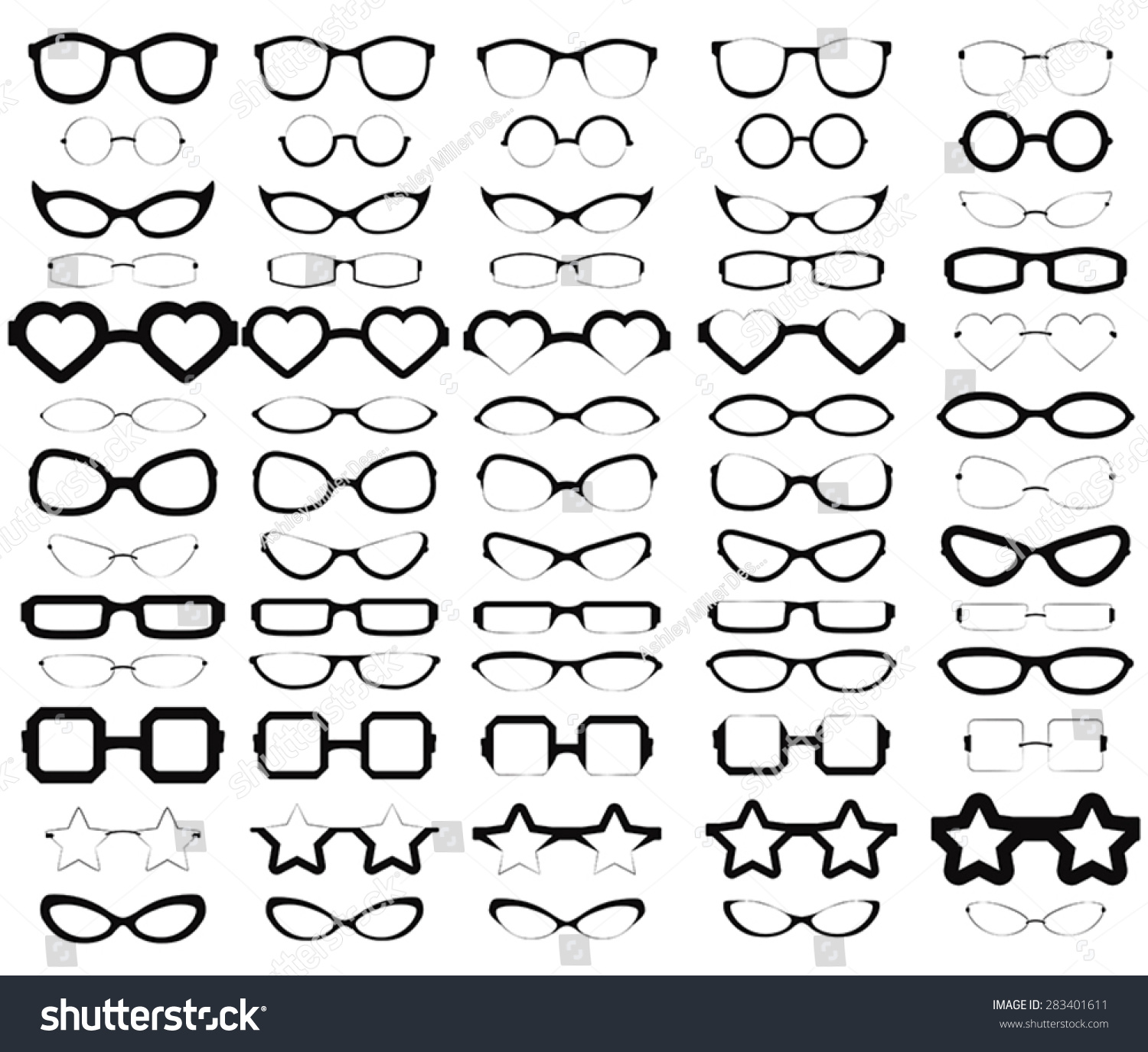 glasses styles  Collection Various Styles Glasses Solid Black Stock Vector ...
