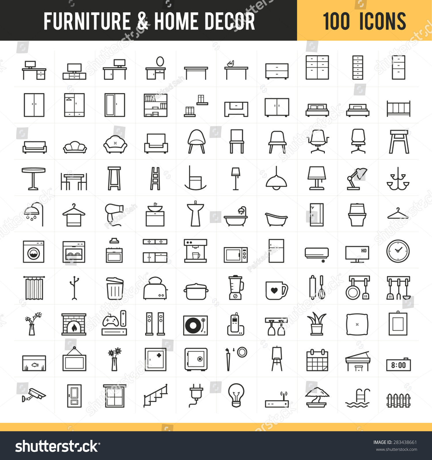 furniture home decor icon set vector stock vector 283438661
