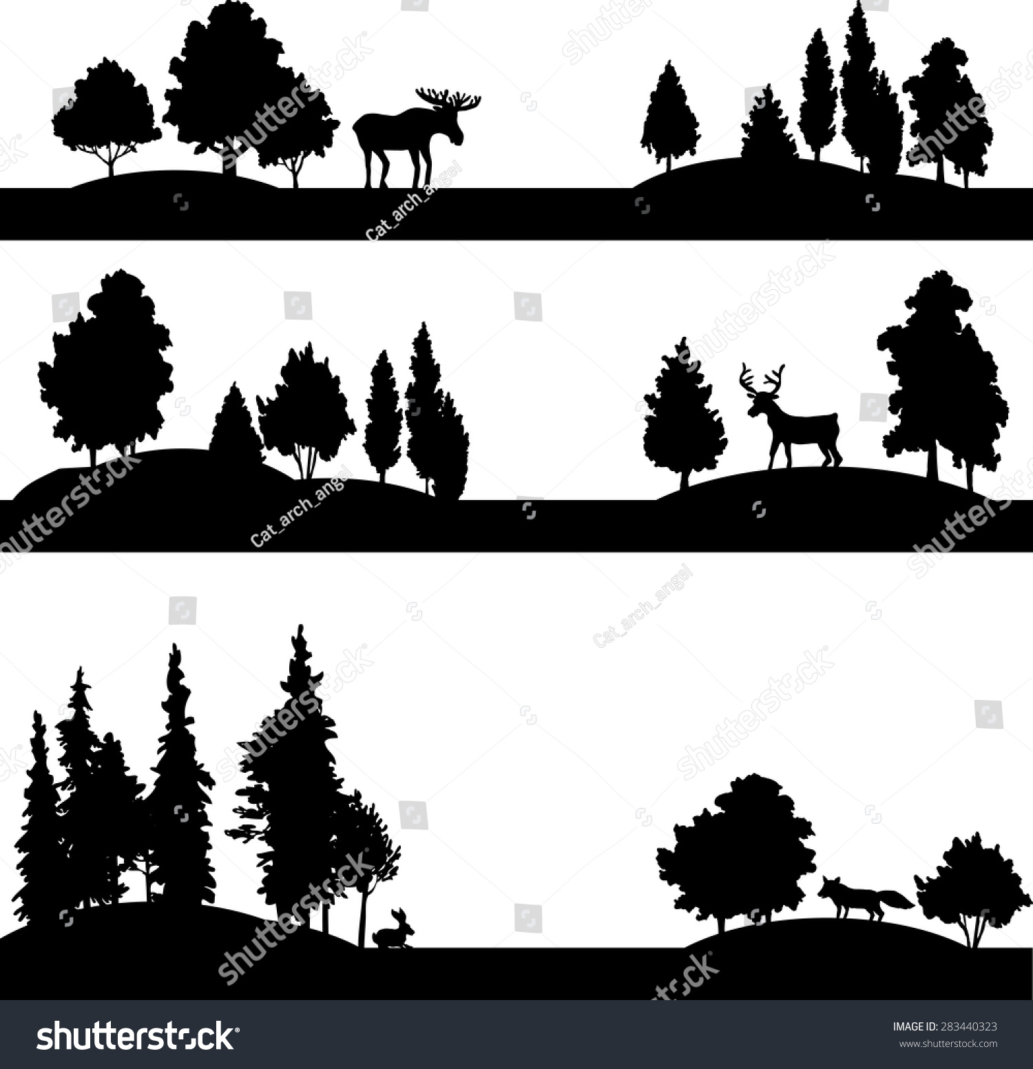 set of different landscapes with deciduous trees coniferous trees and wild animals silhouettes forest with elk deer fox and rabbit hand drawn vector illustration