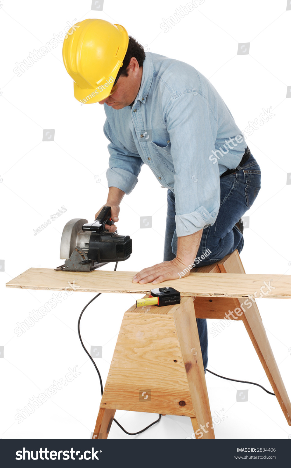 100 Tradesman Bench Table Saw Carpenter Wearing Hard Hat Cutting Plank Stock Photo
