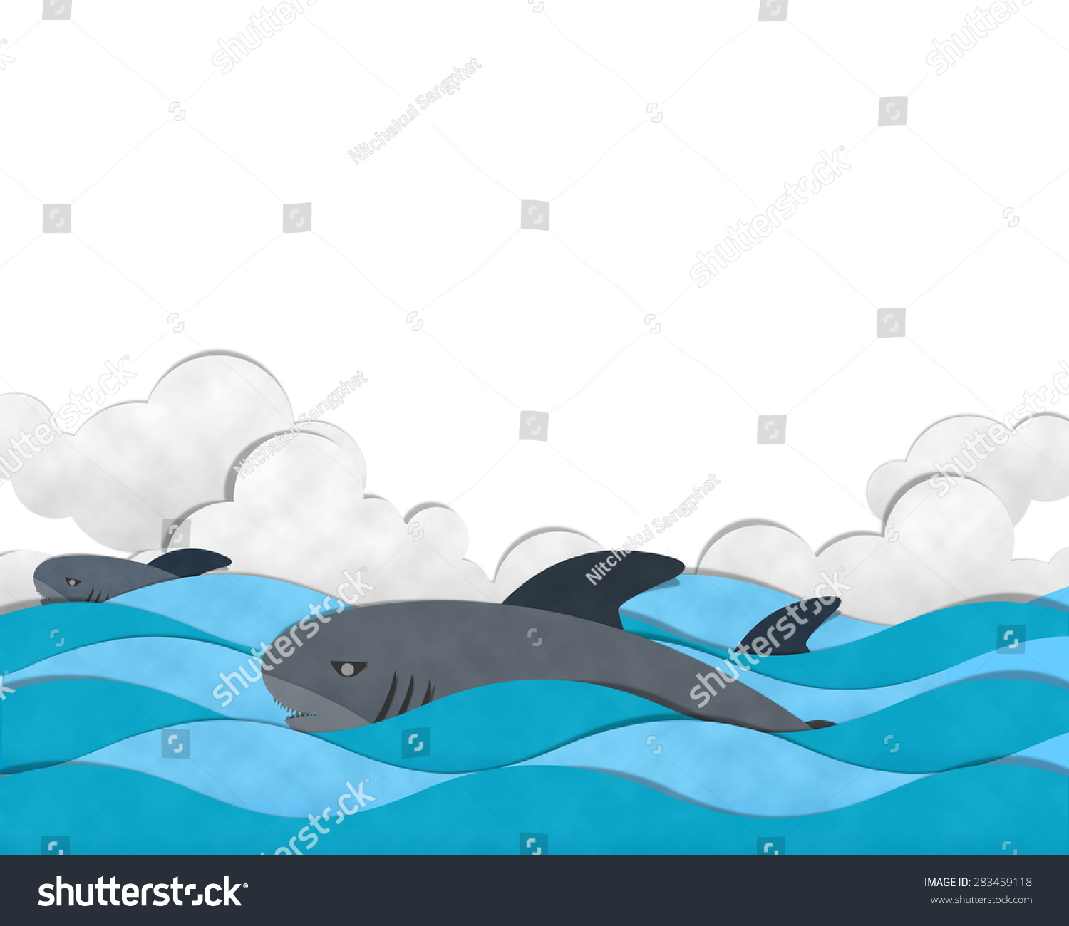 shark swimming on sea paper cut stock illustration 283459118 shark swimming on sea paper cut and paste
