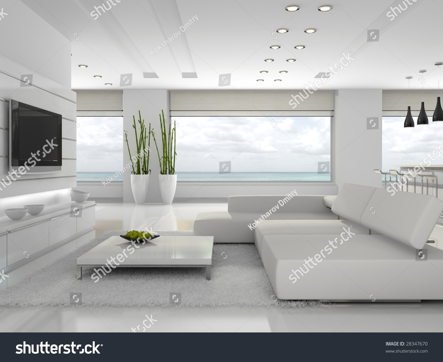 White Interior Of The Stylish Apartment 3d Rendering Stock
