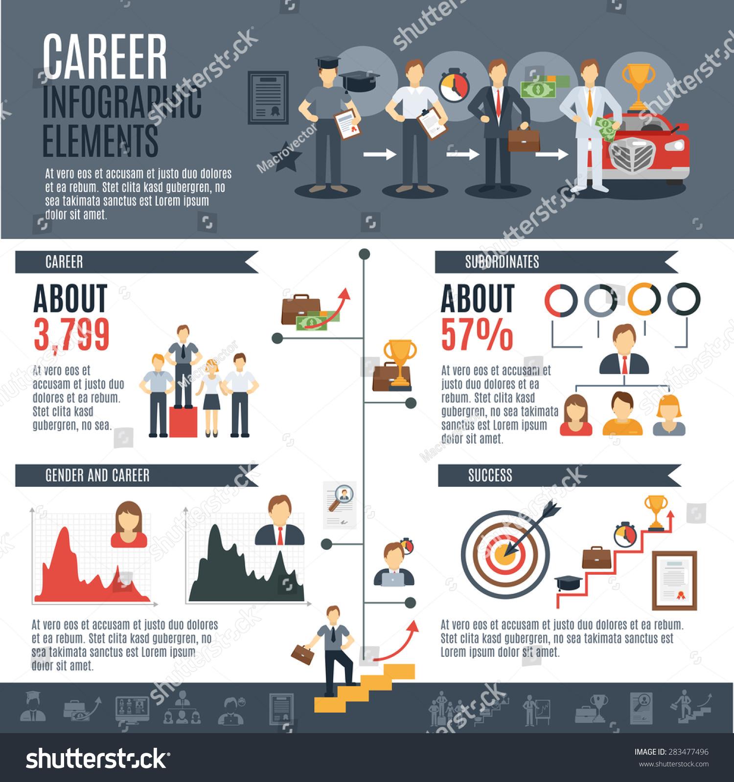 career infographics set employment promotion elements stock vector career infographics set employment and promotion elements and charts vector illustration