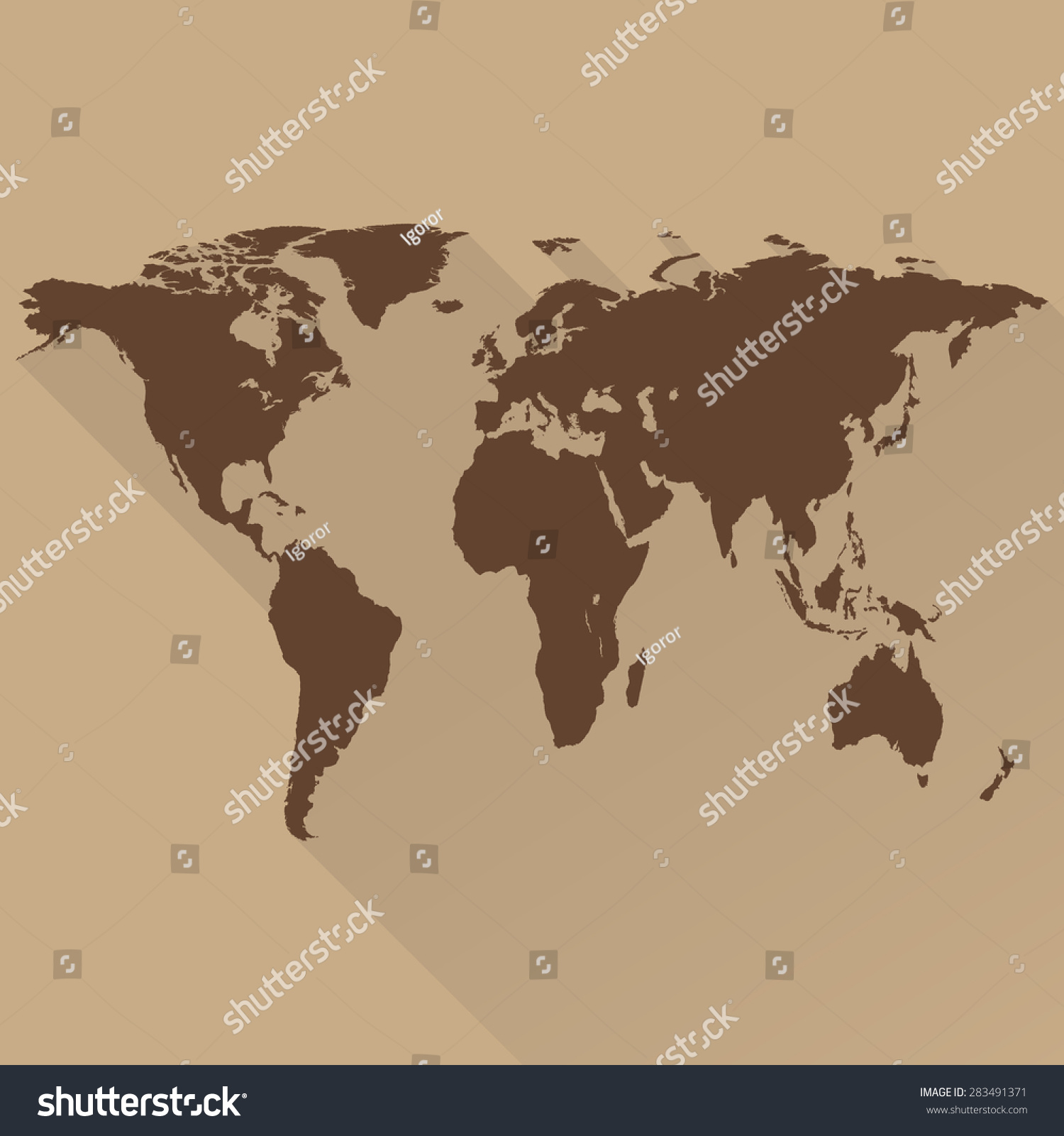 World map flat design long shadow stock vector 283491371 world map a flat design long shadow for web and mobile app gumiabroncs Gallery