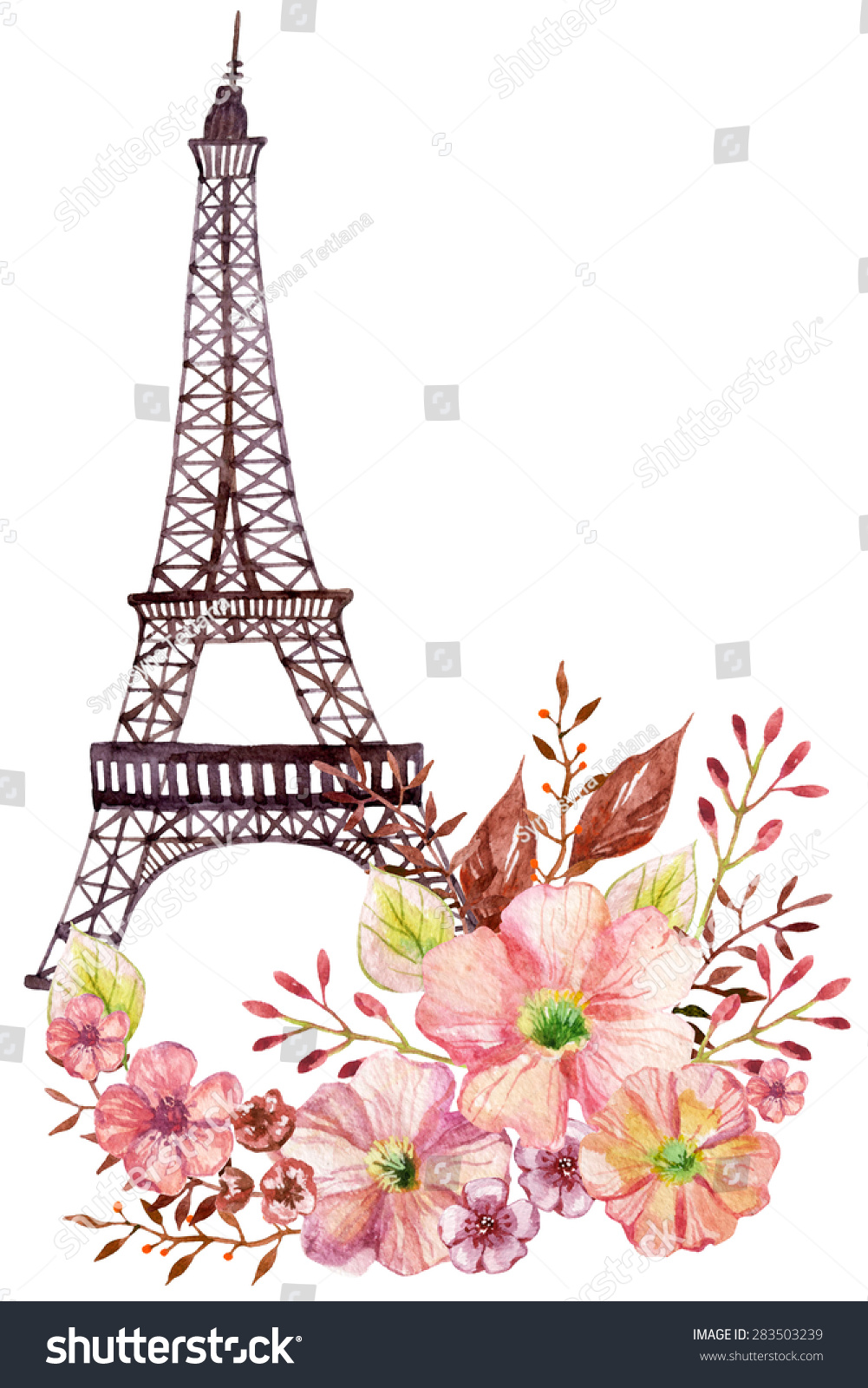paris watercolor illustration hand painted eiffel stock illustration 283503239 shutterstock. Black Bedroom Furniture Sets. Home Design Ideas