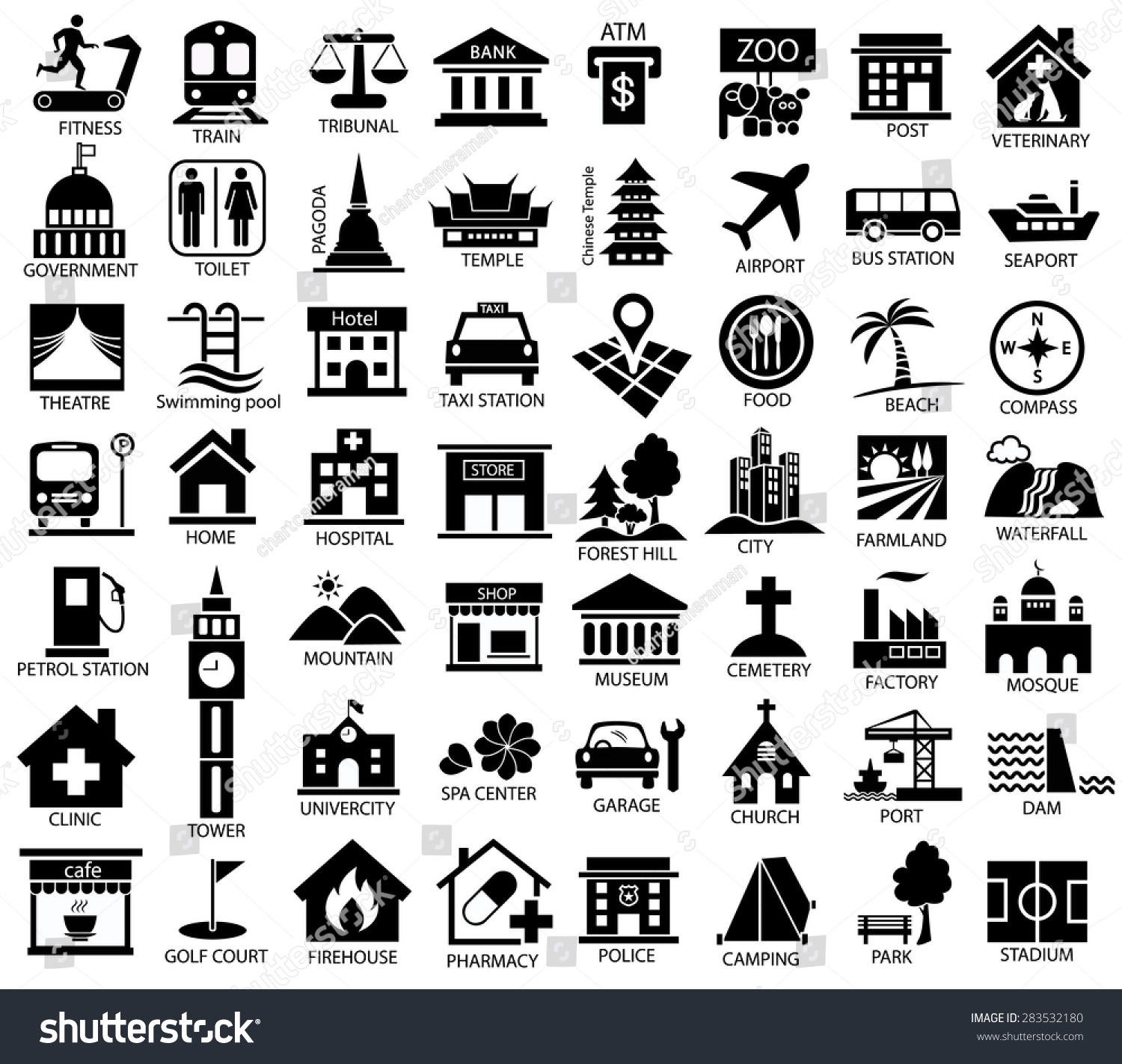 map symbol icon set place government �� ��� 283532180