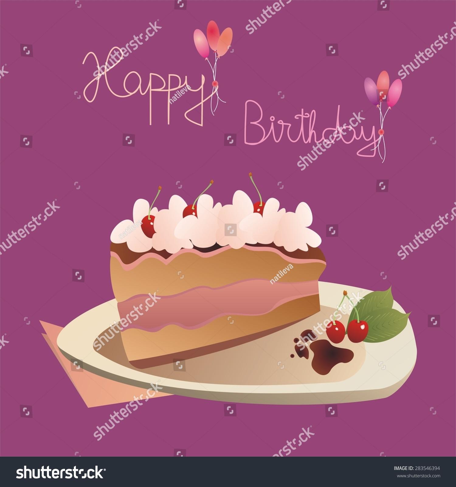 Birthday Card Slice Cake On Plate Stock Vector Royalty Free
