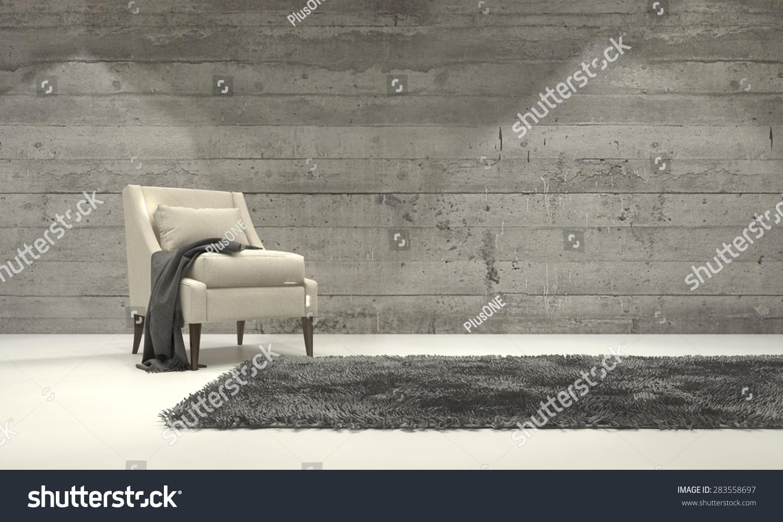 Monochromatic Living Room Decor Minimalist Monochromatic Living Room Interior Grey Stock